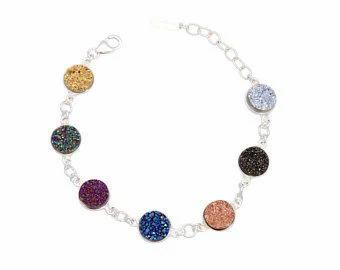 Druzy Sterling Silver Bezel Set Bracelet