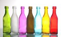 GMO Yellow And Green Color Coated Empty Glass Bottles, Capacity: 70 & 150 ml