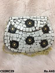white mosaic clutch