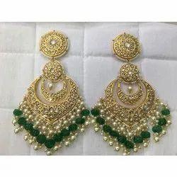 Uncut Diamond Polki Jadau Chandbali Earings