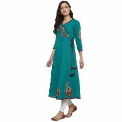 Yash Gallery Women's Cotton Patch Worked Anarkali Kurta
