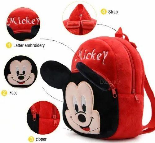 Anva BABY BAGS Velvet Kids School/Nursery/Picnic/Carry/Travelling Bag (Mickey)