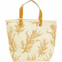 Rexine Handle Printed Jute Bag
