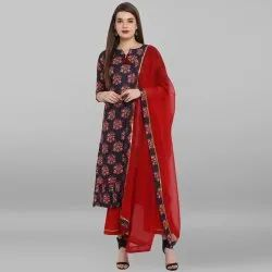 Multicolor Poly Crepe Kurta With Palazzo And Dupatta(SET063)