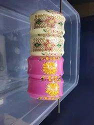 Red Pan India Painted Chuda Plastic Bangles