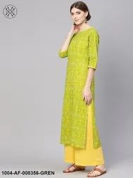 Nayo Green and Yellow Bandhej Printed Straight Kurta with Yellow Palazzo