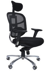 Black Synthetic Leather Mesh Director Chair
