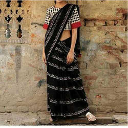Prateek Textiles Printed Handloom Cotton Saree, 6 m (with blouse piece)
