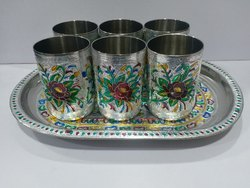 Meenakari Glass Set in Steel