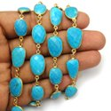 Turquoise Gemstone Bezel Set Connector Station Chain