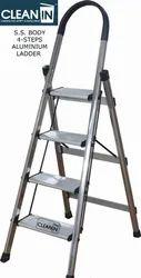 Clean-in 4 Steps S.S. Body, Aluminium Steps Folding Ladder