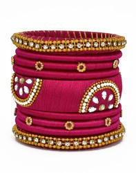 Pink Handmade Silk Thread Bangle