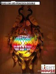 Warm White Polyproclain Wall Lamp - Wall Light - 9162-1W - Peacock Double