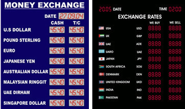Aluminum Rectangle Stock Exchange Rate Display Board