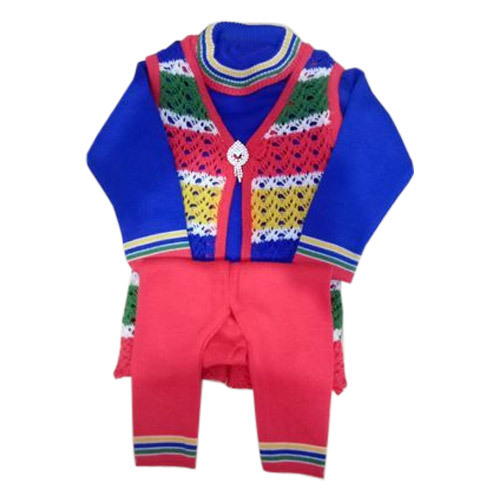 300b200cd Daily Wear Multicolor Kids Woolen Suit