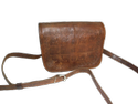Embossed Designer Leather Saddle Bag