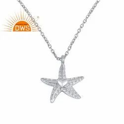Star Fish Design Women Plain 925 Silver Chain Pendant Necklace Jewelry
