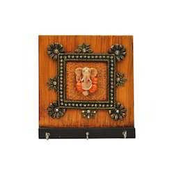 Wooden Ganesha 3 Key Holder With Kundan Work