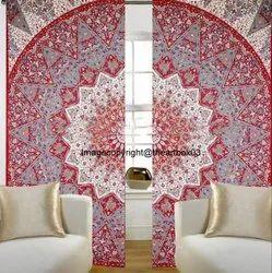 Indian Cotton Mandala Ombre Door Window Drape Curtains