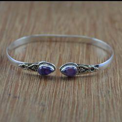 925 Sterling Silver Fancy Jewelry Amethyst Gemstone Bangles