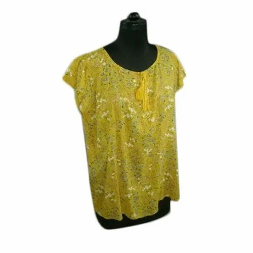 Printed Casual Ladies Yellow Cotton Top
