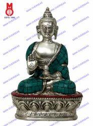 Buddha Sitting B/Hand W/Stone Silver Statue