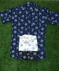 Collar Neck Long Sleeve Men Cotton Fancy Shirt