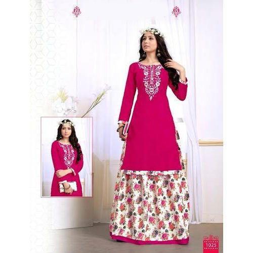 Cotton Ladies Trendy Kurti with Floral Printed Skirt, Size: S, M and L