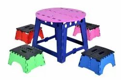 Green PP Kids Plastic Dining Table with Stool