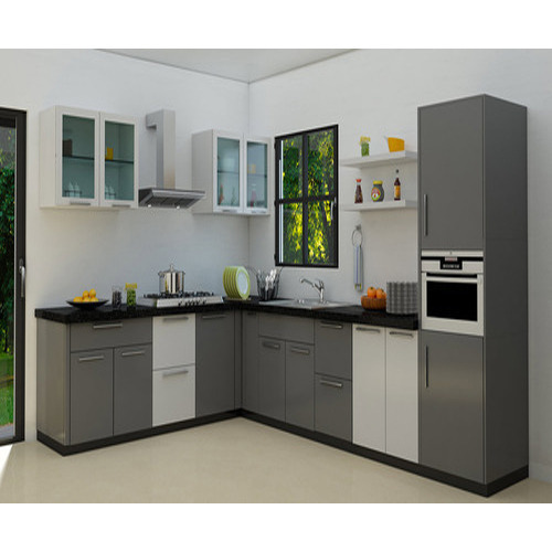 Plywood L Shape Two Color Combination Of L Shaped Modular Kitchen