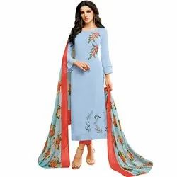 Rajnandini Light Blue Chanderi Silk Embroidered Semi-Stitched Dress Material With Printed Dupatta