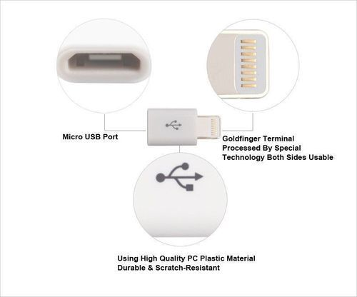Micro USB to 8 pin Apple Lightning Charger Adapter Converter For iPhone