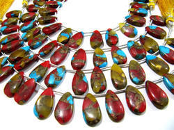 Multi Oyster Copper Turquoise Pear Shape Beads Strand