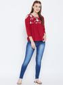 Ladies Red Round Neck Top