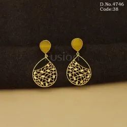 Traditional Glass Stone Hanging Earrings