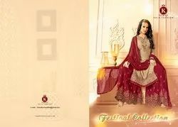 Kala Fashions Festival Collection Series 2001-2006 Stylish Party Wear Georgette Satin Suit