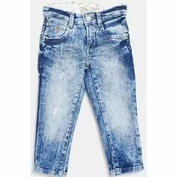 Stretchable Men Kids Blue Faded Denim Jeans, Size: 28 - 36