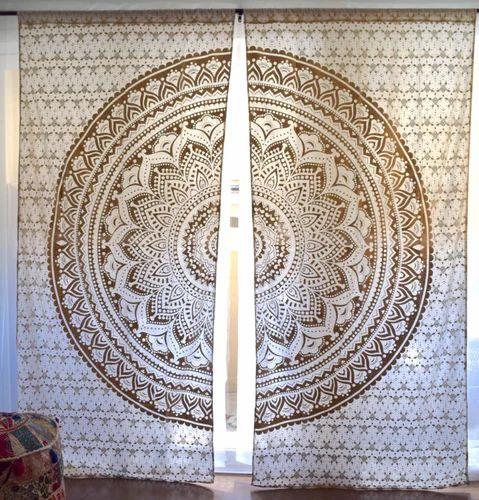 Fashion Fab Cotton Mandala Golden Curtains Size 90 X 108 Inches