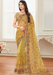Mustard Yellow Embroidered Net Saree