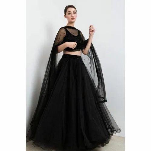 Plain Semi Stitched Black Party Wear Designer Lehenga