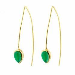 Green Onyx Gemstone Powerful Design Royal Statement Valentine Handmade Earring