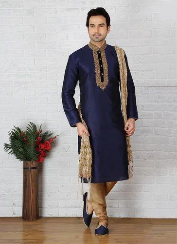 bc6162112 Long Party Wear Art Silk Mens Embroidery Work Kurta Pajama, Rs 1555 ...