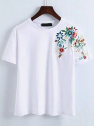 Round embroidery tshirt