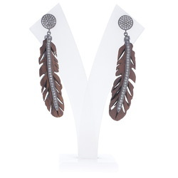 Pave Diamond Wood Feather Earrings
