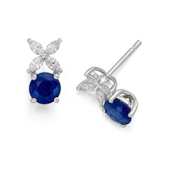 Blue Sapphire Diamond Stud Earrings