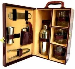 Brown Crocodile Leather Bar Set