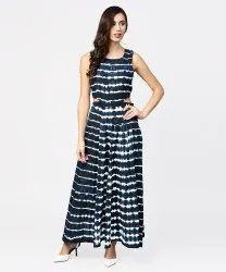 Navy Blue Dyed Half Sleeve Cotton Maxi Dress