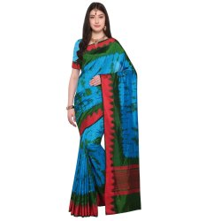Blue & Green Colored Terylene Party Wear Saree