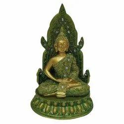 Green Gautam Buddha Hand Close Statue