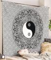 Indian Mandala Black And White Tapestry